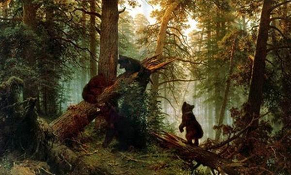 """Медведи на картине Шишкина """"Утро в сосновом лесу"""""""
